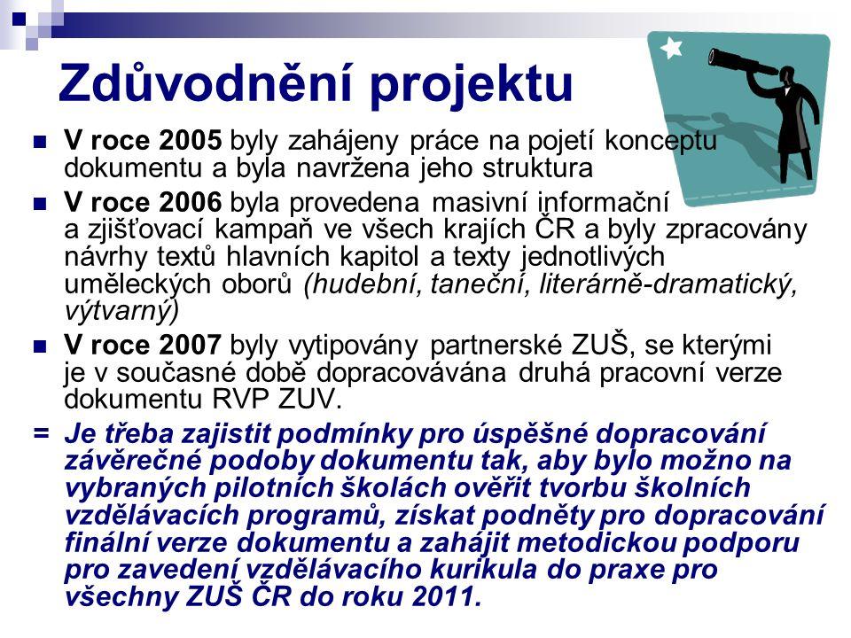 Zdůvodnění projektu V roce 2005 byly zahájeny práce na pojetí konceptu dokumentu a byla navržena jeho struktura V roce 2006 byla provedena masivní informační a zjišťovací kampaň ve všech krajích ČR a byly zpracovány návrhy textů hlavních kapitol a texty jednotlivých uměleckých oborů (hudební, taneční, literárně-dramatický, výtvarný) V roce 2007 byly vytipovány partnerské ZUŠ, se kterými je v současné době dopracovávána druhá pracovní verze dokumentu RVP ZUV.