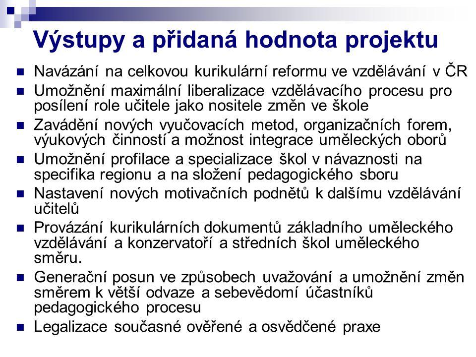 Výstupy a přidaná hodnota projektu Navázání na celkovou kurikulární reformu ve vzdělávání v ČR Umožnění maximální liberalizace vzdělávacího procesu pr