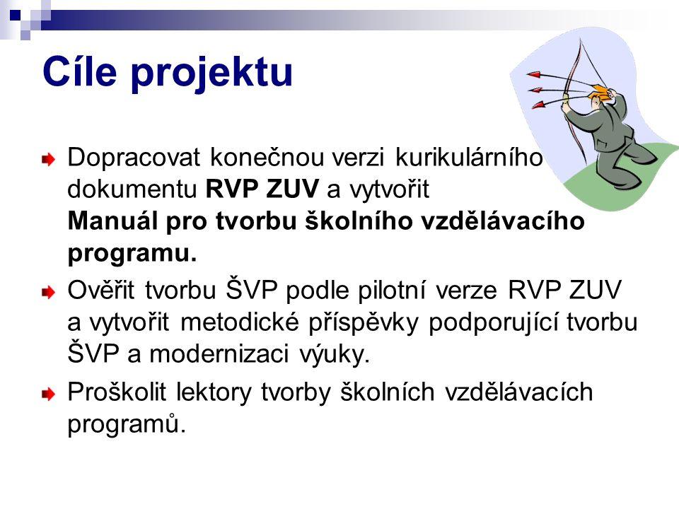 Cíle projektu Dopracovat konečnou verzi kurikulárního dokumentu RVP ZUV a vytvořit Manuál pro tvorbu školního vzdělávacího programu. Ověřit tvorbu ŠVP