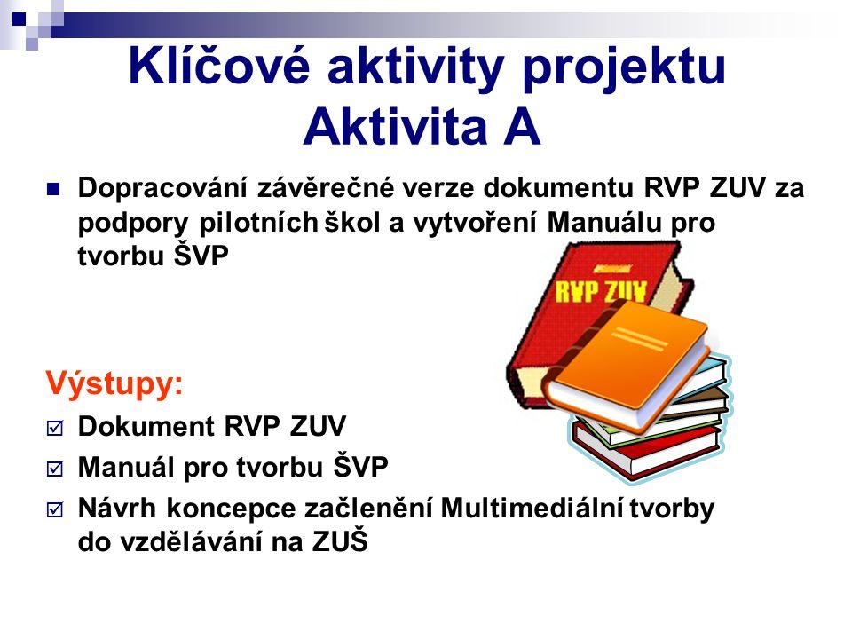 Klíčové aktivity projektu Dopracování závěrečné verze dokumentu RVP ZUV za podpory pilotních škol a vytvoření Manuálu pro tvorbu ŠVP Výstupy: DDokum
