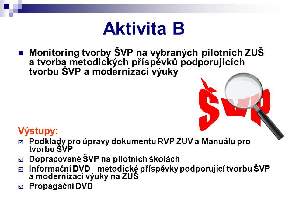 Aktivita B Monitoring tvorby ŠVP na vybraných pilotních ZUŠ a tvorba metodických příspěvků podporujících tvorbu ŠVP a modernizaci výuky Výstupy: PPodklady pro úpravy dokumentu RVP ZUV a Manuálu pro tvorbu ŠVP DDopracované ŠVP na pilotních školách IInformační DVD – metodické příspěvky podporující tvorbu ŠVP a modernizaci výuky na ZUŠ PPropagační DVD