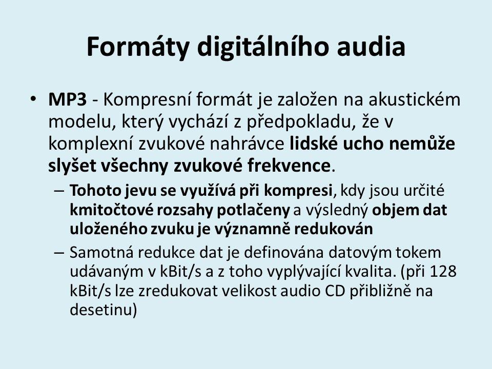 Formáty digitálního audia MP3 - Kompresní formát je založen na akustickém modelu, který vychází z předpokladu, že v komplexní zvukové nahrávce lidské