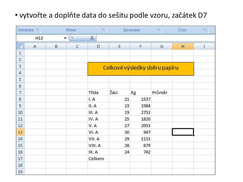 nyní chceme doplnit poslední údaj – celkový průměr kilogramů na 1 žáka celé školy aplikujte vzorec pro průměr dvou hodnot pro tuto buňku