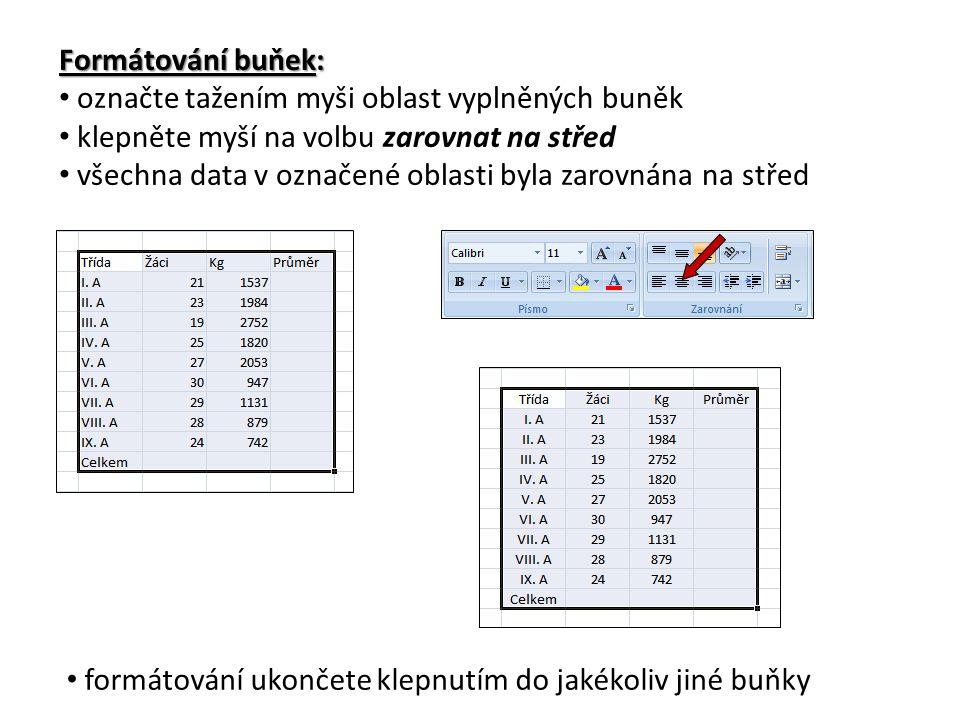 řešení: Po stisku klávesy ENTER Tuto tabulku uložte pod názvem SBĚR PAPÍRU