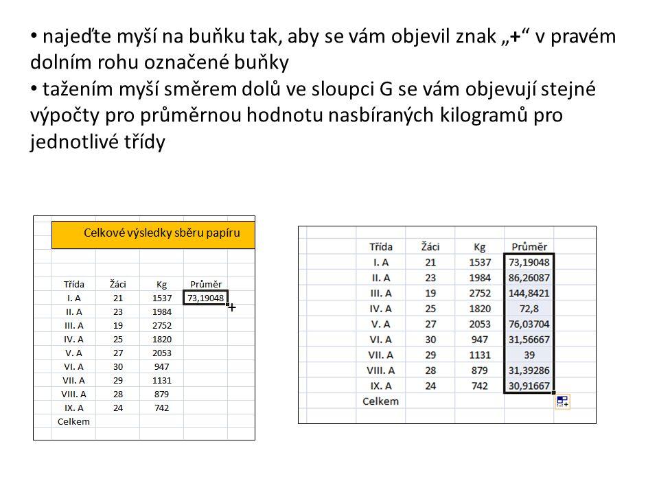 """+ najeďte myší na buňku tak, aby se vám objevil znak """"+ v pravém dolním rohu označené buňky tažením myší směrem dolů ve sloupci G se vám objevují stejné výpočty pro průměrnou hodnotu nasbíraných kilogramů pro jednotlivé třídy"""