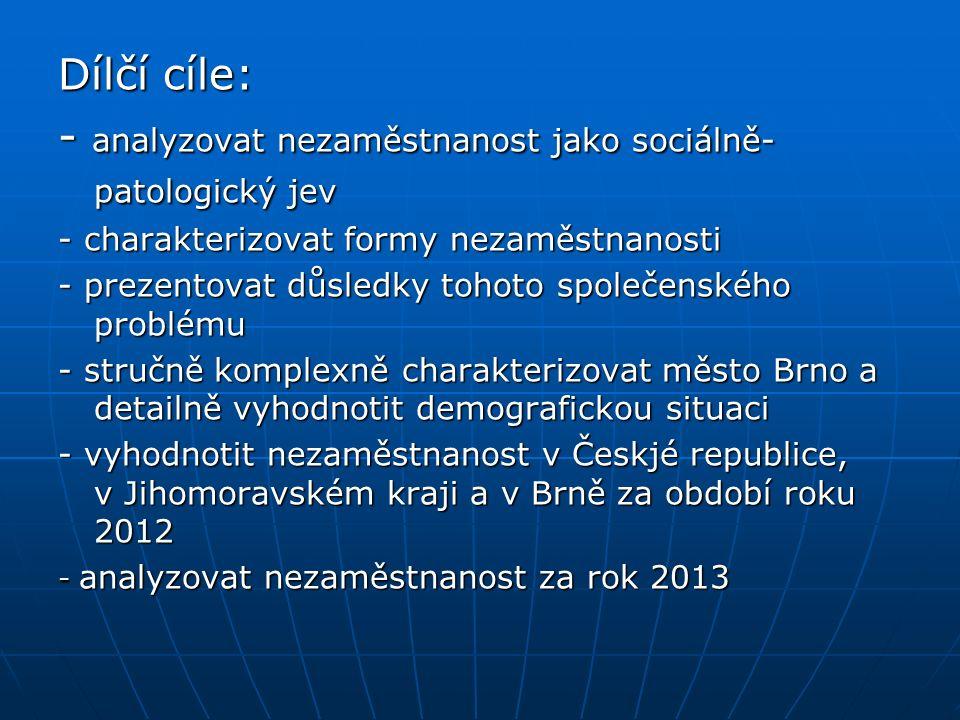 Dílčí cíle: - analyzovat nezaměstnanost jako sociálně- patologický jev - charakterizovat formy nezaměstnanosti - prezentovat důsledky tohoto společenského problému - stručně komplexně charakterizovat město Brno a detailně vyhodnotit demografickou situaci - vyhodnotit nezaměstnanost v Českjé republice, v Jihomoravském kraji a v Brně za období roku 2012 - analyzovat nezaměstnanost za rok 2013