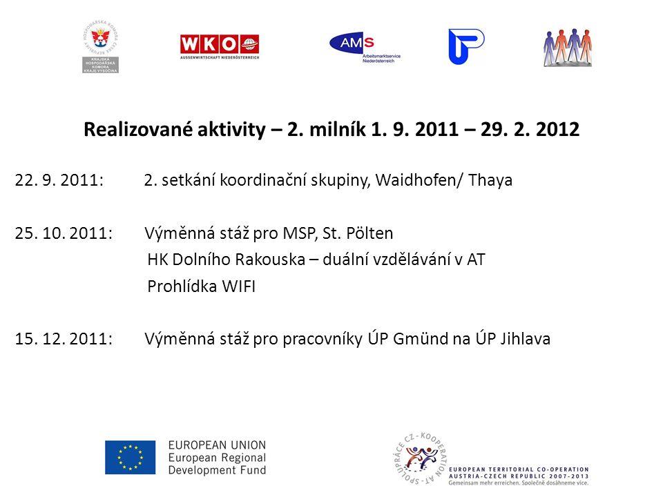 Realizované aktivity – 2. milník 1. 9. 2011 – 29. 2. 2012 22. 9. 2011: 2. setkání koordinační skupiny, Waidhofen/ Thaya 25. 10. 2011: Výměnná stáž pro