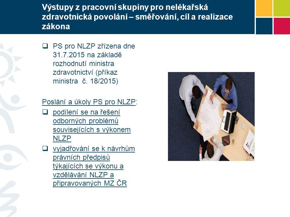 Výstupy z pracovní skupiny pro nelékařská zdravotnická povolání – směřování, cíl a realizace zákona  PS pro NLZP zřízena dne 31.7.2015 na základě roz