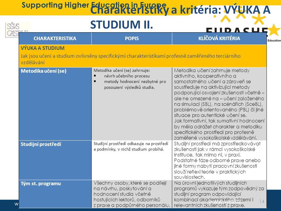 www.eurashe.eu Supporting Higher Education in Europe Charakteristiky a kritéria: VÝUKA A STUDIUM II. CHARAKTERISTIKAPOPISKLÍČOVÁ KRITÉRIA VÝUKA A STUD