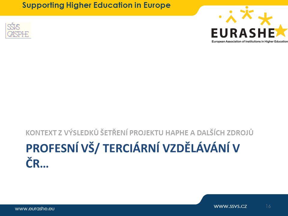 www.eurashe.eu Supporting Higher Education in Europe PROFESNÍ VŠ/ TERCIÁRNÍ VZDĚLÁVÁNÍ V ČR… KONTEXT Z VÝSLEDKŮ ŠETŘENÍ PROJEKTU HAPHE A DALŠÍCH ZDROJ