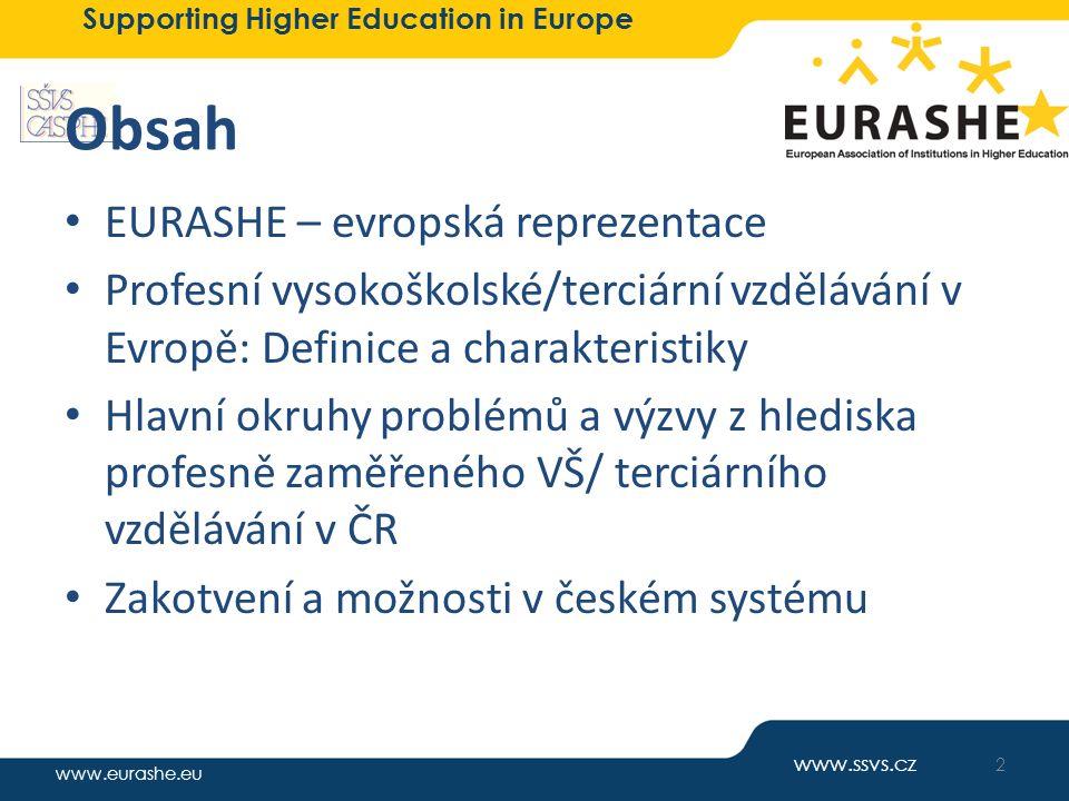 www.eurashe.eu Supporting Higher Education in Europe Obsah EURASHE – evropská reprezentace Profesní vysokoškolské/terciární vzdělávání v Evropě: Defin
