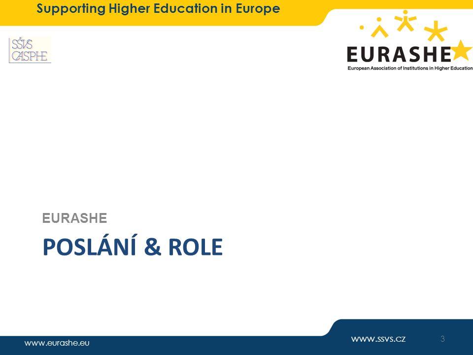 """www.eurashe.eu Supporting Higher Education in Europe Sdružení profesního terciárního vzdělávání sdružení """"experimentálních škol , VOŠ i VŠ (neu) důraz na vytvoření profesně zaměřeného VŠ sektoru a transformaci VOŠ mezinárodní zkušenosti nová role: platforma pro podporu rozvoje profesně zaměřeného terciárního vzdělávání, výměnu zkušeností členství pro jednotlivce, školy i jejich uskupení EURASHE politická reprezentace na úrovni EU/EHEA partner pro Evropskou komisi jako reprezentant sektoru oficiální partner v Boloňském procesu informace o vývoji, trendech & možných přístupech a řešeních, sdílení zkušeností členství asociace i jednotlivé instituce ± 1400 institucí v 40 zemích 4 www.ssvs.cz"""