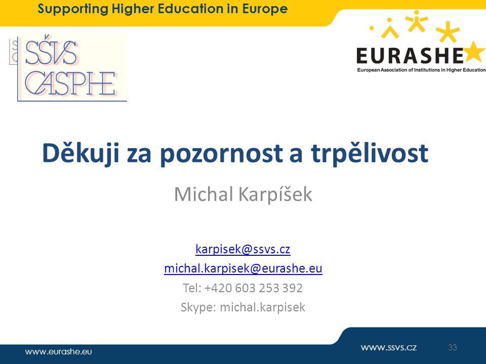www.eurashe.eu Supporting Higher Education in Europe Děkuji za pozornost a trpělivost Michal Karpíšek karpisek@ssvs.cz michal.karpisek@eurashe.eu Tel: