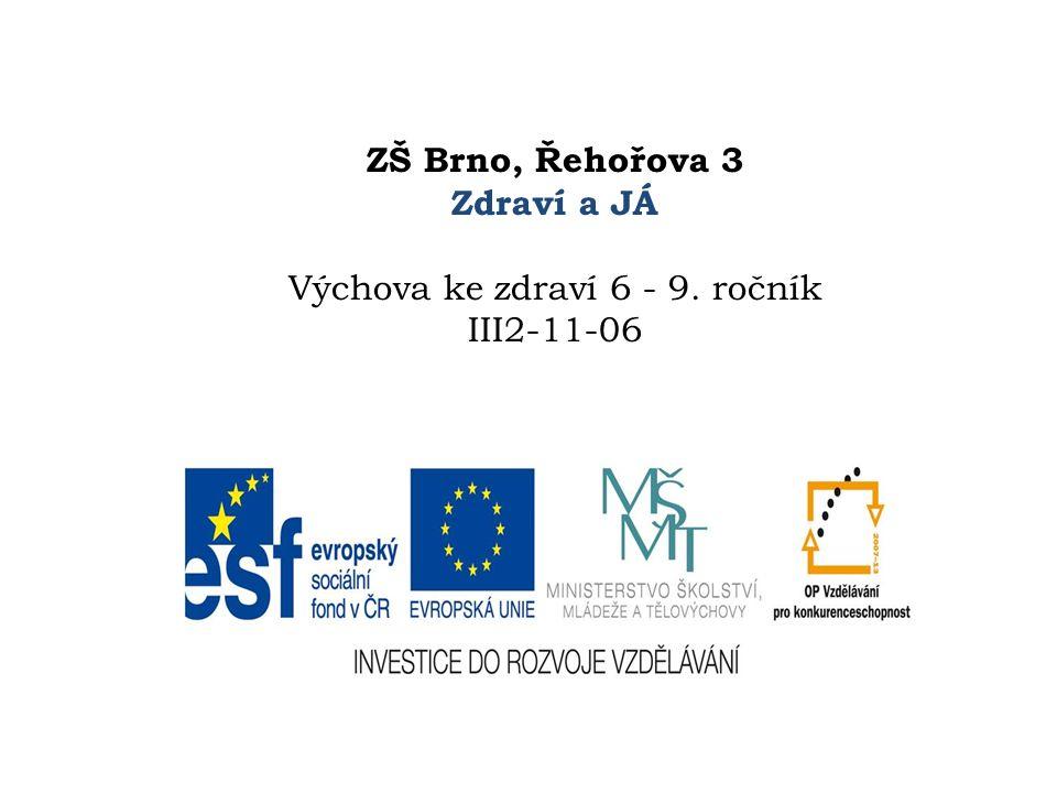ZŠ Brno, Řehořova 3 Zdraví a JÁ Výchova ke zdraví 6 - 9. ročník III2-11-06