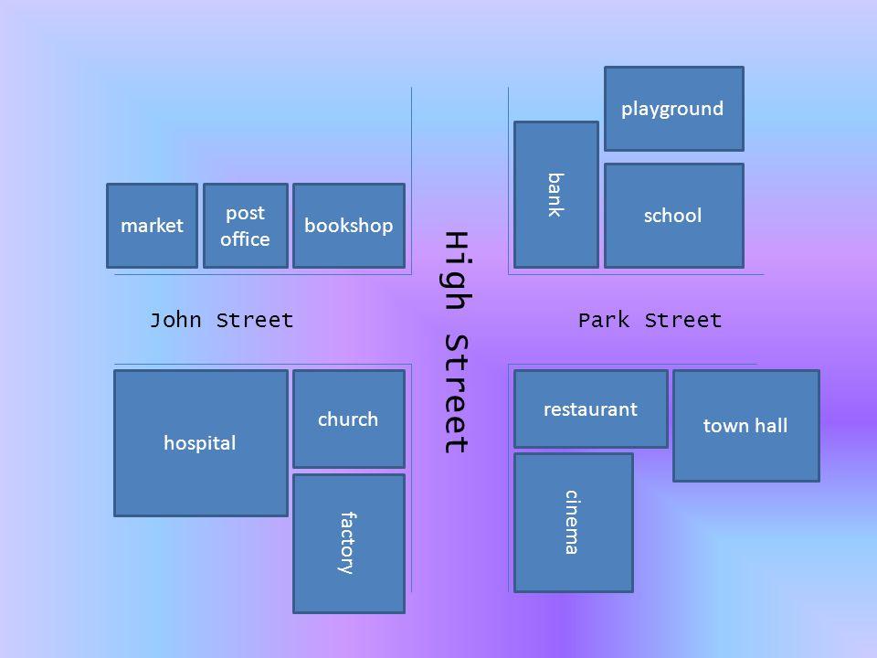 1.Where is…. Doplň správnou předložku: Post office is ____________ market and bookshop.