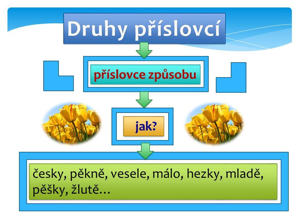 jak příslovce způsobu česky, pěkně, vesele, málo, hezky, mladě, pěšky, žlutě…