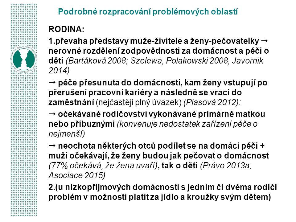 Podrobné rozpracování problémových oblastí RODINA: 1.převaha představy muže-živitele a ženy-pečovatelky  nerovné rozdělení zodpovědnosti za domácnost a péči o děti (Bartáková 2008; Szelewa, Polakowski 2008, Javornik 2014)  péče přesunuta do domácnosti, kam ženy vstupují po přerušení pracovní kariéry a následně se vrací do zaměstnání (nejčastěji plný úvazek) (Plasová 2012):  očekávané rodičovství vykonávané primárně matkou nebo příbuznými (konvenuje nedostatek zařízení péče o nejmenší)  neochota některých otců podílet se na domácí péči + muži očekávají, že ženy budou jak pečovat o domácnost (77% očekává, že žena uvaří), tak o děti (Právo 2013a; Asociace 2015) 2.(u nízkopříjmových domácností s jedním či dvěma rodiči problém v možnosti platit za jídlo a kroužky svým dětem)