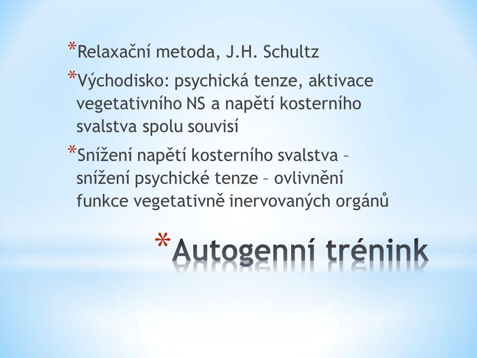 * Relaxační metoda, J.H. Schultz * Východisko: psychická tenze, aktivace vegetativního NS a napětí kosterního svalstva spolu souvisí * Snížení napětí