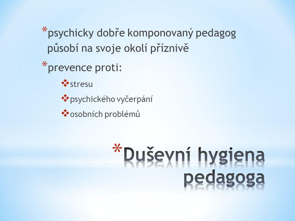 * psychicky dobře komponovaný pedagog působí na svoje okolí příznivě * prevence proti:  stresu  psychického vyčerpání  osobních problémů