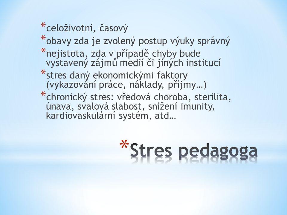 * celoživotní, časový * obavy zda je zvolený postup výuky správný * nejistota, zda v případě chyby bude vystavený zájmů medií či jiných institucí * stres daný ekonomickými faktory (vykazování práce, náklady, příjmy…) * chronický stres: vředová choroba, sterilita, únava, svalová slabost, snížení imunity, kardiovaskulární systém, atd…