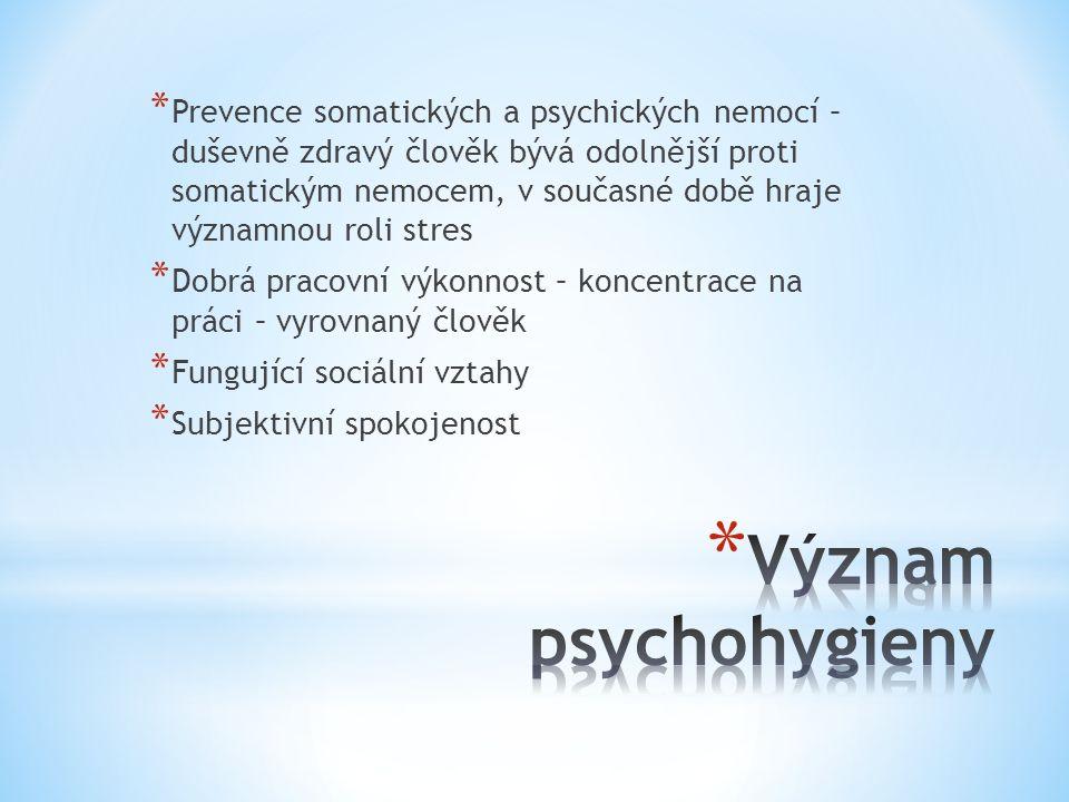 * Prevence somatických a psychických nemocí – duševně zdravý člověk bývá odolnější proti somatickým nemocem, v současné době hraje významnou roli stres * Dobrá pracovní výkonnost – koncentrace na práci – vyrovnaný člověk * Fungující sociální vztahy * Subjektivní spokojenost