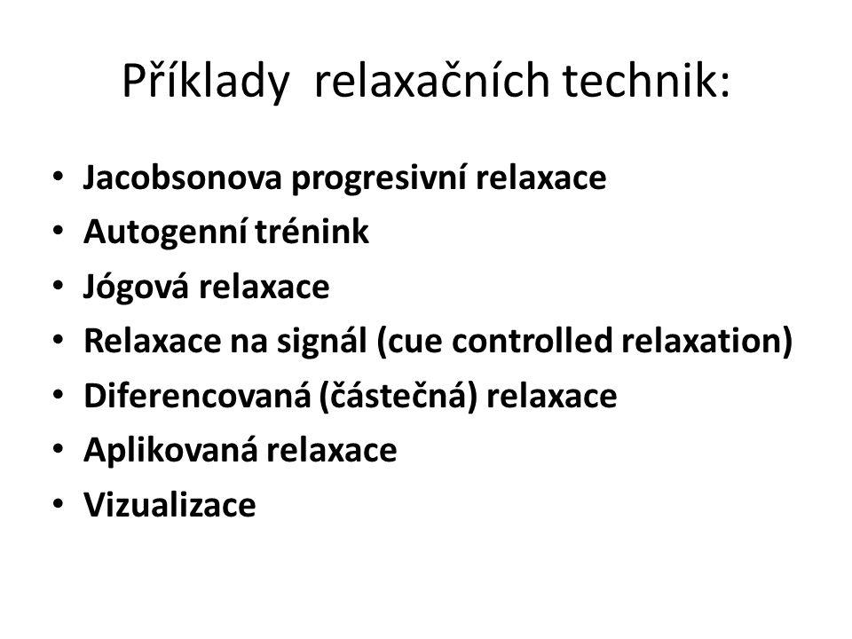Příklady relaxačních technik: Jacobsonova progresivní relaxace Autogenní trénink Jógová relaxace Relaxace na signál (cue controlled relaxation) Diferencovaná (částečná) relaxace Aplikovaná relaxace Vizualizace