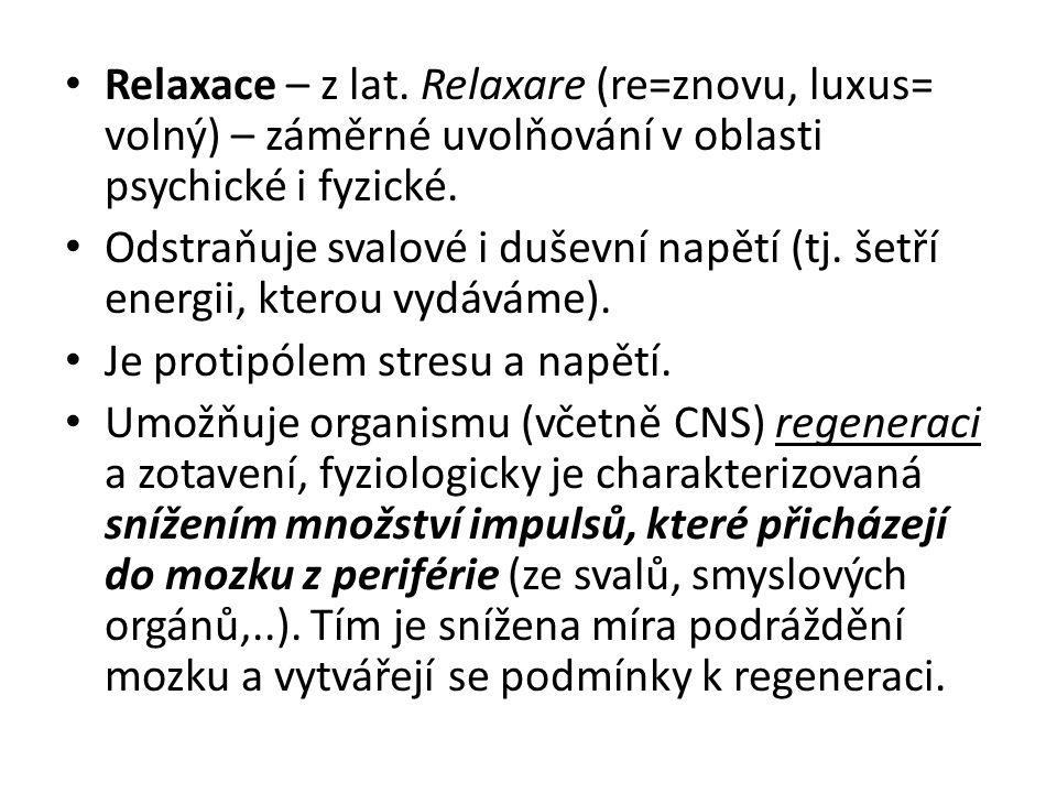 Progresivní relaxace 3 fáze nácviku: 1.Kontrakce – postupně všechny svalové skupiny v pořadí od končetin ke středu těla, od ramene ke krku, svalstvo obličeje, oči a mluvidla 2.Relaxace – ve stejném pořadí – ihned po kontrakci 3.Uvědomování – vnímání změn mezi napětím a uvolněním při zdůrazňování příjemného pocitu relaxace