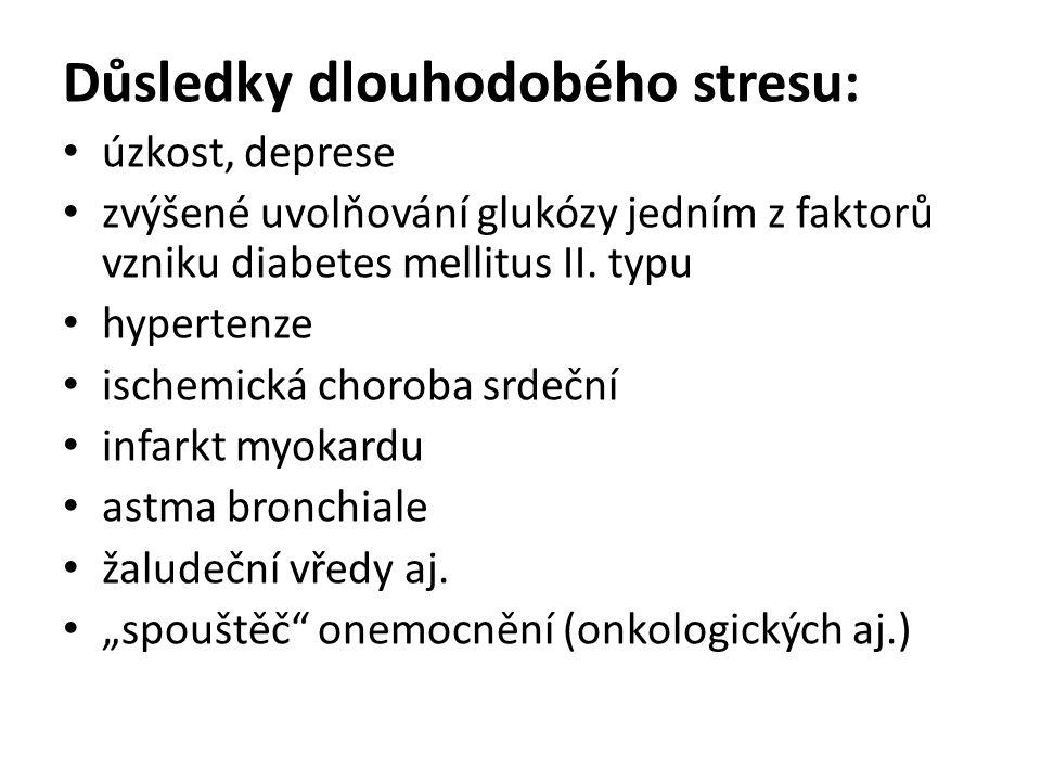 Důsledky dlouhodobého stresu: úzkost, deprese zvýšené uvolňování glukózy jedním z faktorů vzniku diabetes mellitus II.