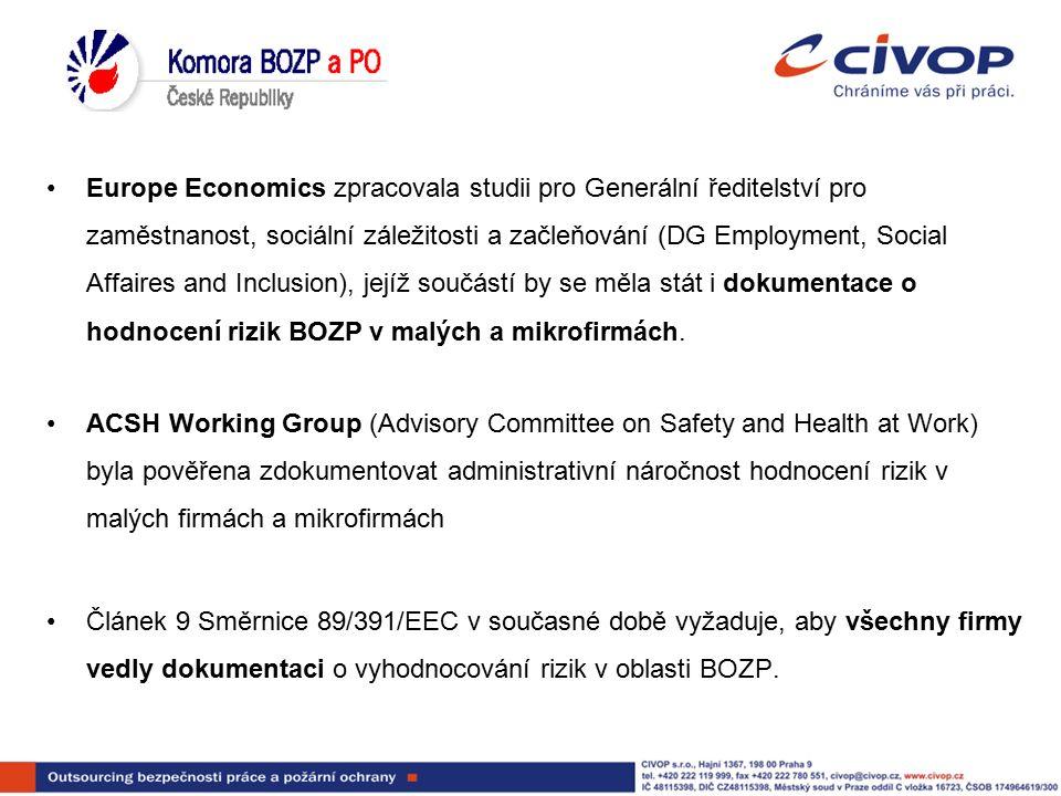 Europe Economics zpracovala studii pro Generální ředitelství pro zaměstnanost, sociální záležitosti a začleňování (DG Employment, Social Affaires and Inclusion), jejíž součástí by se měla stát i dokumentace o hodnocení rizik BOZP v malých a mikrofirmách.