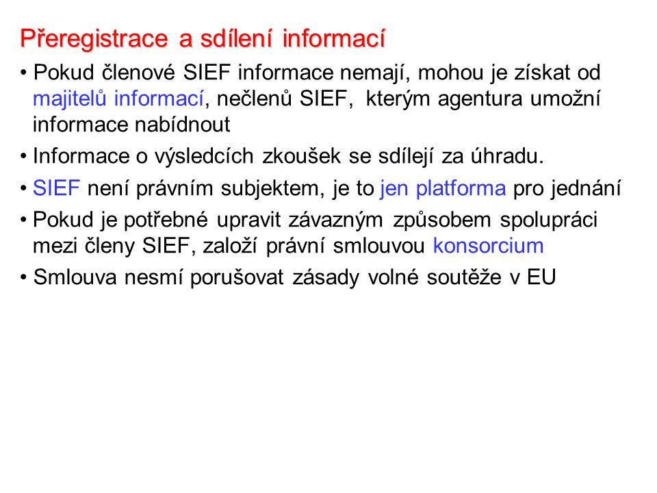 Přeregistrace a sdílení informací Pokud členové SIEF informace nemají, mohou je získat od majitelů informací, nečlenů SIEF, kterým agentura umožní informace nabídnout Informace o výsledcích zkoušek se sdílejí za úhradu.