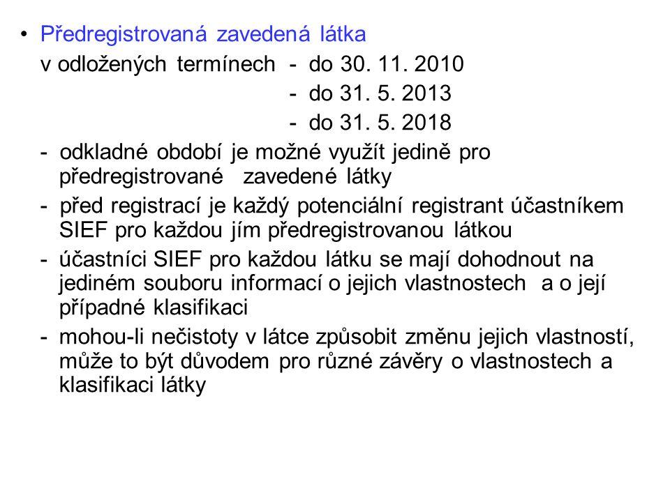 Jaký je obsah žádosti o registraci látky.
