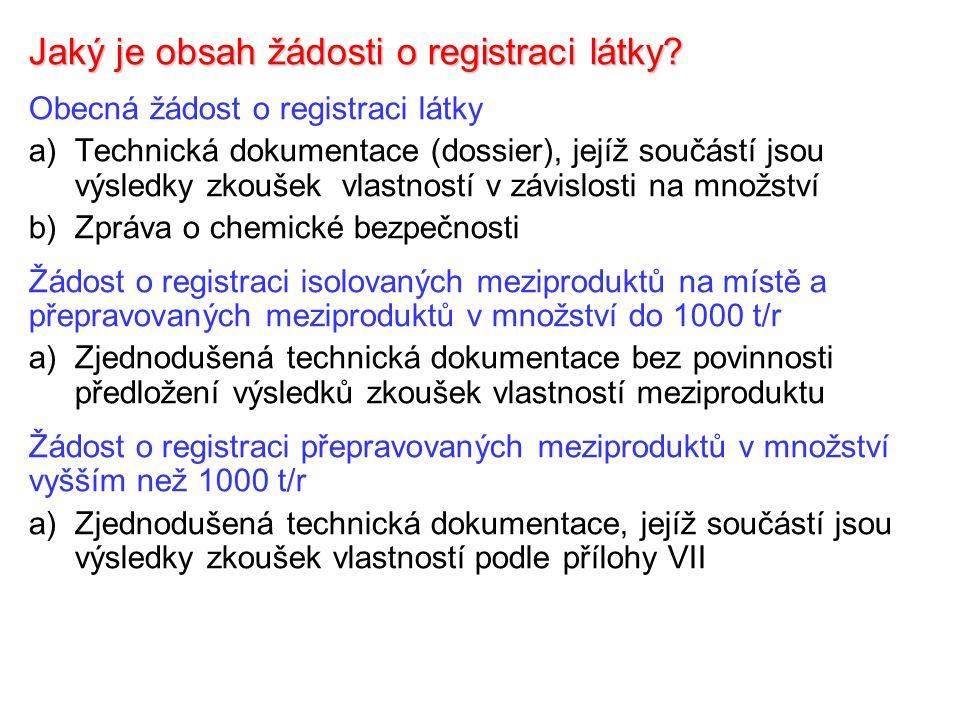 Zpráva o chemické bezpečnosti Rizika registrovaných látek se hodnotí podle přílohy I a TGD on Risk Assessment Zpráva o hodnocení rizik se zpracovává podle přílohy I pro všechny registrované látky s výjimkou látek registrovaných pro 1 – 10 t/r Hodnocení rizik není nutné provádět pro látku obsaženou v přípravku v koncentraci nižší než 0,1 % hm.