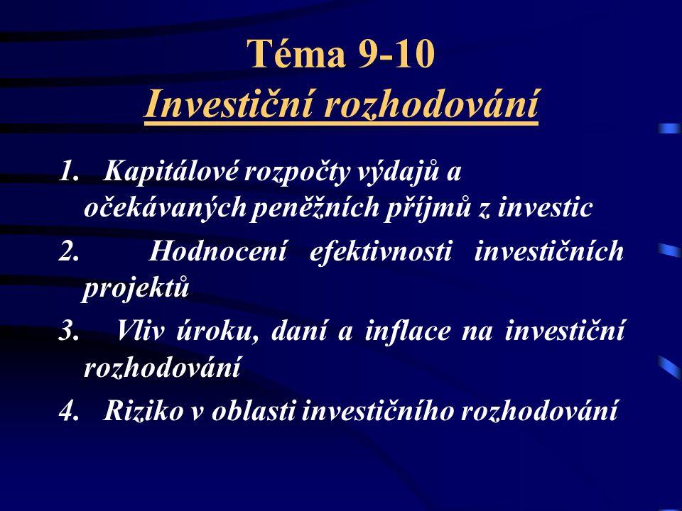 Téma 9-10 Investiční rozhodování 1. Kapitálové rozpočty výdajů a očekávaných peněžních příjmů z investic 2. Hodnocení efektivnosti investičních projek