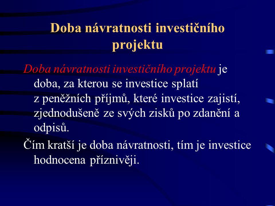 Doba návratnosti investičního projektu Doba návratnosti investičního projektu je doba, za kterou se investice splatí z peněžních příjmů, které investice zajistí, zjednodušeně ze svých zisků po zdanění a odpisů.