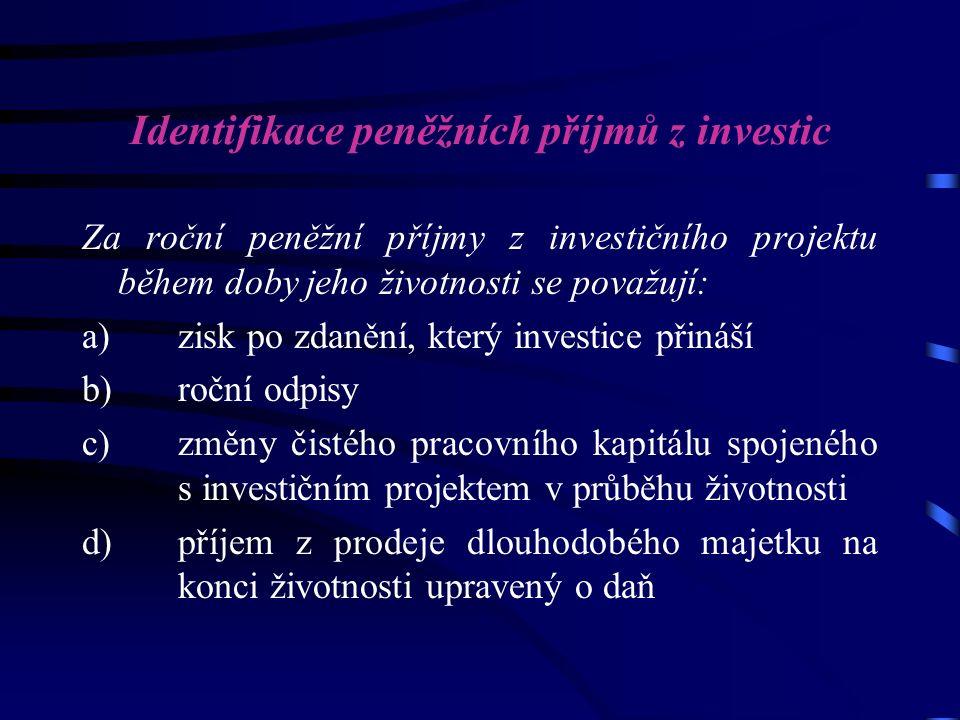 Identifikace peněžních příjmů z investic Za roční peněžní příjmy z investičního projektu během doby jeho životnosti se považují: a) zisk po zdanění, který investice přináší b) roční odpisy c) změny čistého pracovního kapitálu spojeného s investičním projektem v průběhu životnosti d) příjem z prodeje dlouhodobého majetku na konci životnosti upravený o daň