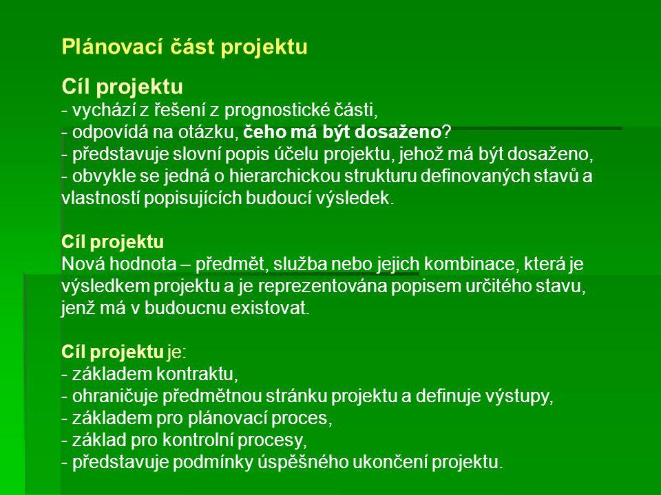 Plánovací část projektu Cíl projektu - vychází z řešení z prognostické části, - odpovídá na otázku, čeho má být dosaženo? - představuje slovní popis ú