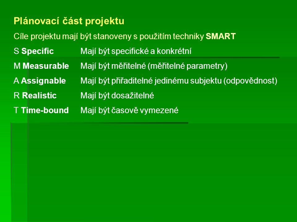Plánovací část projektu Cíle projektu mají být stanoveny s použitím techniky SMART S SpecificMají být specifické a konkrétní M MeasurableMají být měři