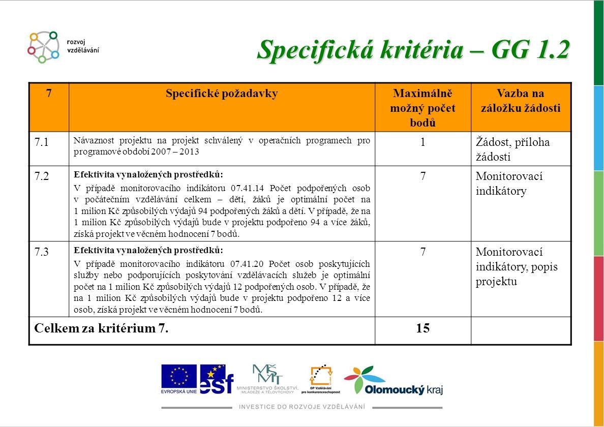 Specifická kritéria – GG 1.2 7Specifické požadavkyMaximálně možný počet bodů Vazba na záložku žádosti 7.1 Návaznost projektu na projekt schválený v operačních programech pro programové období 2007 – 2013 1Žádost, příloha žádosti 7.2 Efektivita vynaložených prostředků: V případě monitorovacího indikátoru 07.41.14 Počet podpořených osob v počátečním vzdělávání celkem – dětí, žáků je optimální počet na 1 milion Kč způsobilých výdajů 94 podpořených žáků a dětí.
