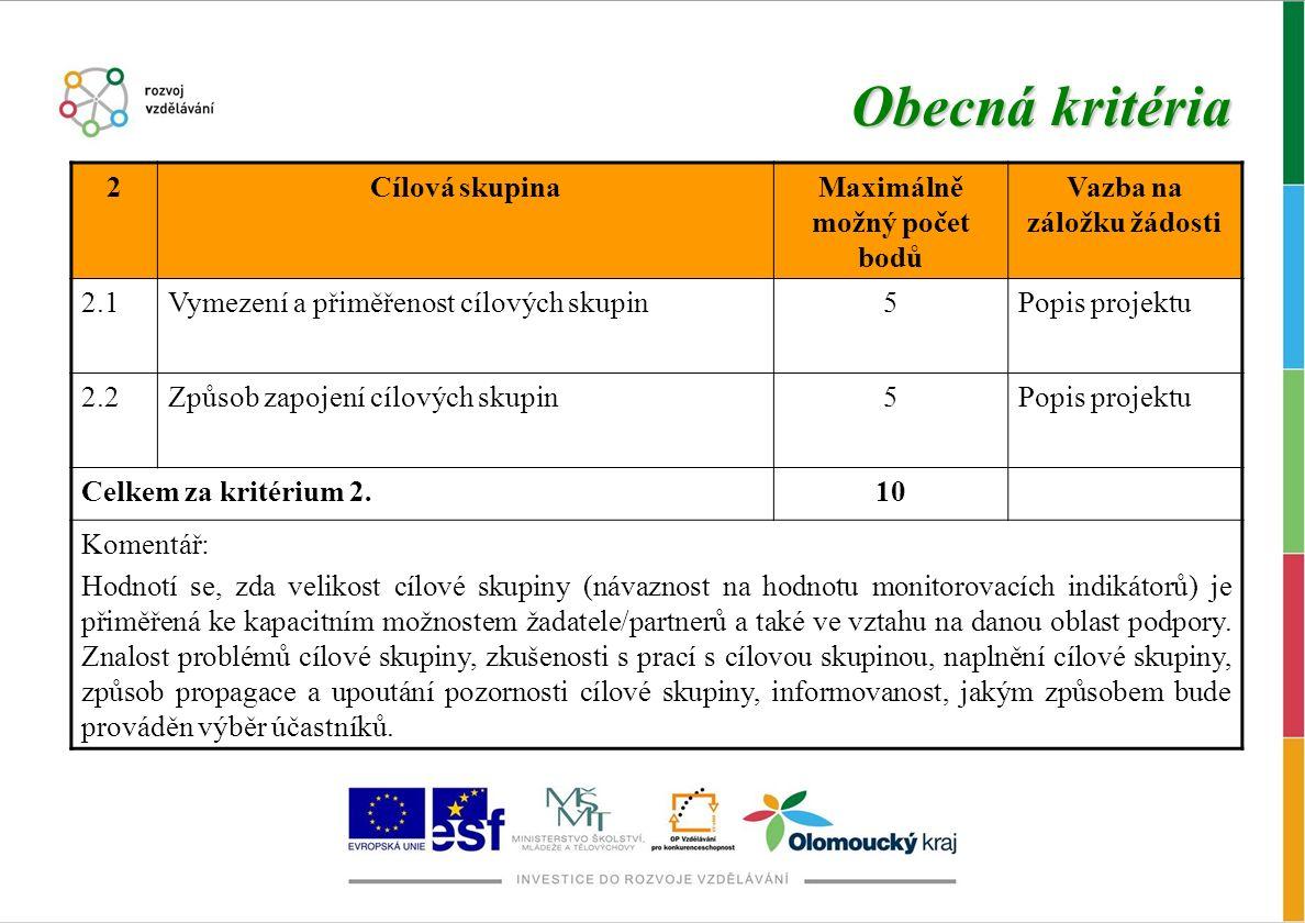 Obecná kritéria 2Cílová skupinaMaximálně možný počet bodů Vazba na záložku žádosti 2.1Vymezení a přiměřenost cílových skupin5Popis projektu 2.2Způsob