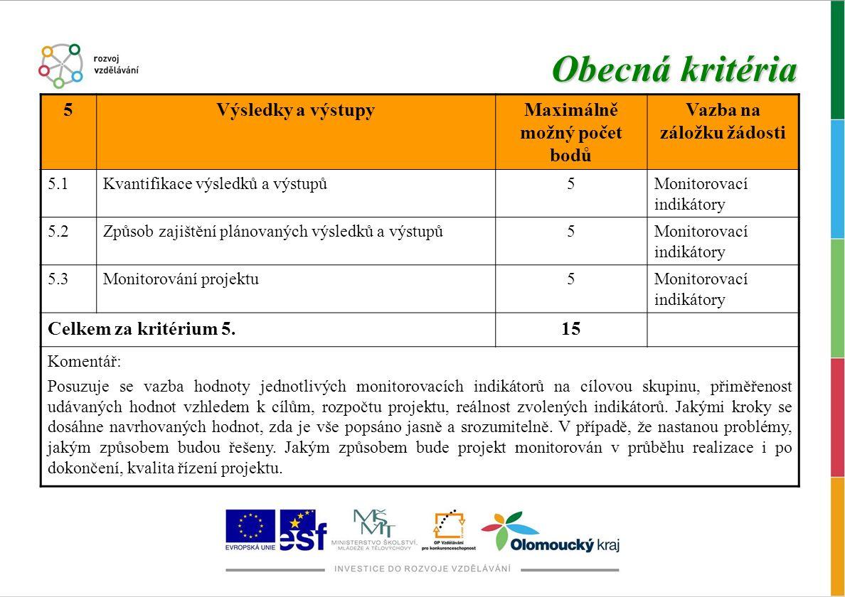 Obecná kritéria 5Výsledky a výstupyMaximálně možný počet bodů Vazba na záložku žádosti 5.1Kvantifikace výsledků a výstupů5Monitorovací indikátory 5.2Způsob zajištění plánovaných výsledků a výstupů5Monitorovací indikátory 5.3Monitorování projektu5Monitorovací indikátory Celkem za kritérium 5.15 Komentář: Posuzuje se vazba hodnoty jednotlivých monitorovacích indikátorů na cílovou skupinu, přiměřenost udávaných hodnot vzhledem k cílům, rozpočtu projektu, reálnost zvolených indikátorů.