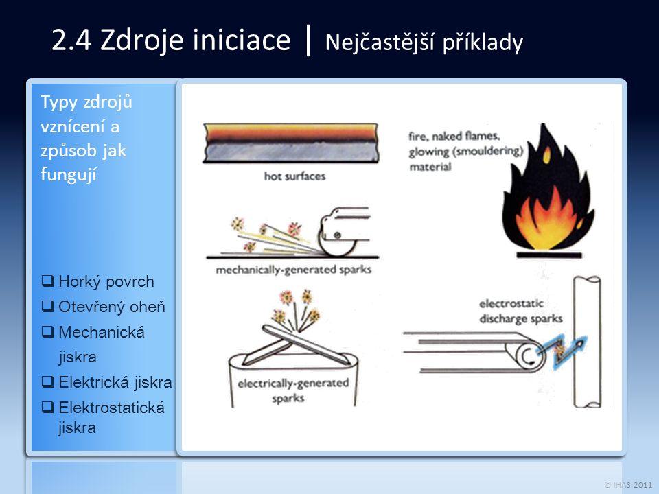 © IHAS 2011 2.4 Zdroje iniciace | Nejčastější příklady  Horký povrch  Otevřený oheň  Mechanická jiskra  Elektrická jiskra  Elektrostatická jiskra Typy zdrojů vznícení a způsob jak fungují