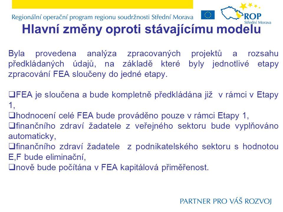 Hlavní změny oproti stávajícímu modelu Byla provedena analýza zpracovaných projektů a rozsahu předkládaných údajů, na základě které byly jednotlivé etapy zpracování FEA sloučeny do jedné etapy.