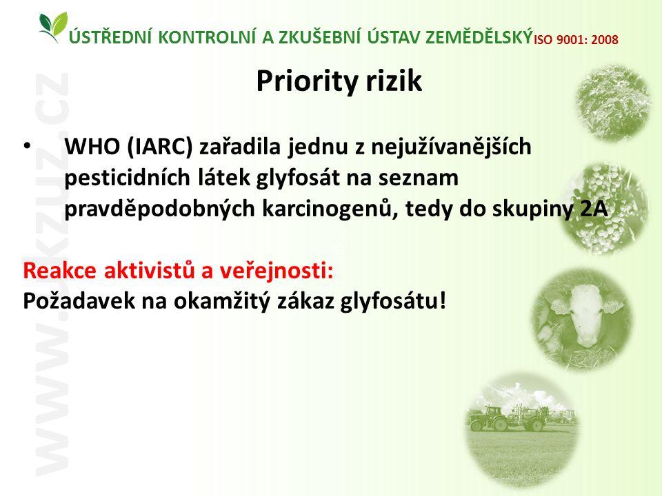 O ÚSTŘEDNÍ KONTROLNÍ A ZKUŠEBNÍ ÚSTAV ZEMĚDĚLSKÝ www.ukzuz.cz ISO 9001: 2008 Priority rizik WHO (IARC) zařadila jednu z nejužívanějších pesticidních látek glyfosát na seznam pravděpodobných karcinogenů, tedy do skupiny 2A Reakce aktivistů a veřejnosti: Požadavek na okamžitý zákaz glyfosátu!
