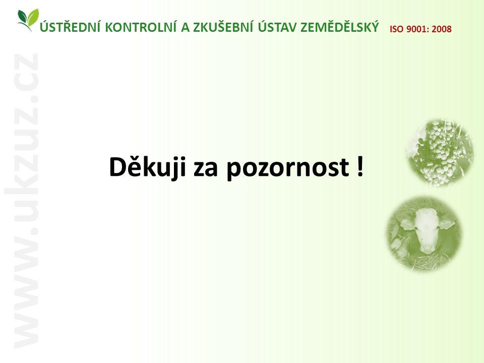 m ÚSTŘEDNÍ KONTROLNÍ A ZKUŠEBNÍ ÚSTAV ZEMĚDĚLSKÝ www.ukzuz.cz ISO 9001: 2008 Děkuji za pozornost !