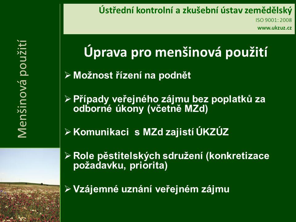 Ústřední kontrolní a zkušební ústav zemědělský ISO 9001: 2008 www.ukzuz.cz Úprava pro menšinová použití  Možnost řízení na podnět  Případy veřejného zájmu bez poplatků za odborné úkony (včetně MZd)  Komunikaci s MZd zajistí ÚKZÚZ  Role pěstitelských sdružení (konkretizace požadavku, priorita)  Vzájemné uznání veřejném zájmu Menšinová použití
