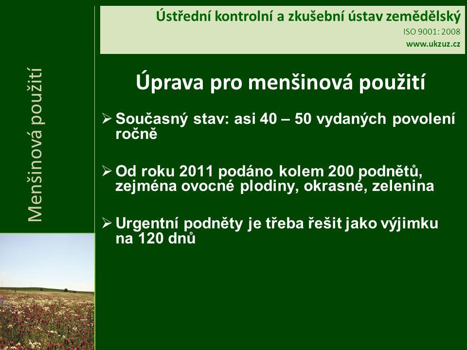 Ústřední kontrolní a zkušební ústav zemědělský ISO 9001: 2008 www.ukzuz.cz Úprava pro menšinová použití  Současný stav: asi 40 – 50 vydaných povolení ročně  Od roku 2011 podáno kolem 200 podnětů, zejména ovocné plodiny, okrasné, zelenina  Urgentní podněty je třeba řešit jako výjimku na 120 dnů Menšinová použití
