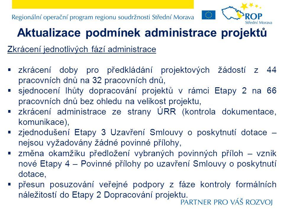 Aktualizace podmínek administrace projektů Zkrácení jednotlivých fází administrace  zkrácení doby pro předkládání projektových žádostí z 44 pracovníc