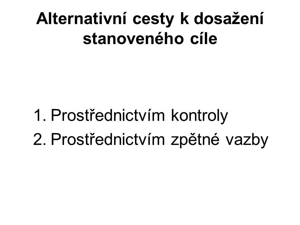 Alternativní cesty k dosažení stanoveného cíle 1.Prostřednictvím kontroly 2.Prostřednictvím zpětné vazby
