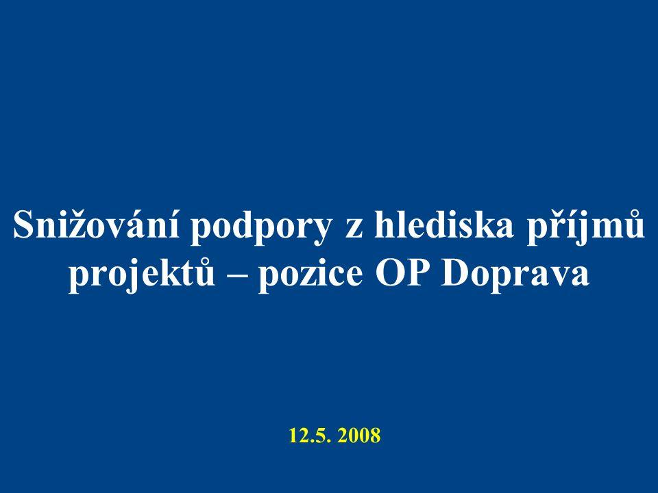 Snižování podpory z hlediska příjmů projektů – pozice OP Doprava 12.5. 2008