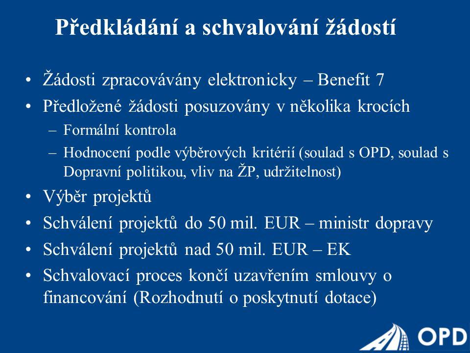 Žádosti zpracovávány elektronicky – Benefit 7 Předložené žádosti posuzovány v několika krocích –Formální kontrola –Hodnocení podle výběrových kritérií (soulad s OPD, soulad s Dopravní politikou, vliv na ŽP, udržitelnost) Výběr projektů Schválení projektů do 50 mil.